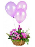 C25.2 Basket Arrangement & 3Balloons