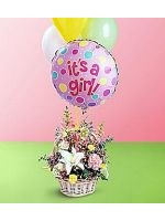 Baby Girl Bouquet with Balloons